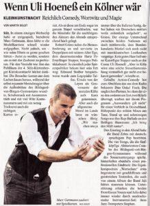 Zeitungsartikel: Kleinkunstnacht mit Marc Gettmann