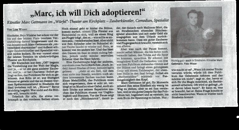"Marc Gettmann im ""Würfel""-Theater am Kirchplatz"